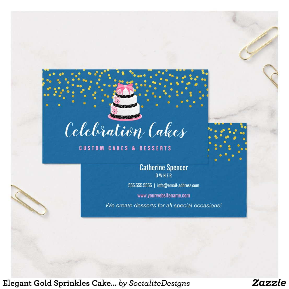 Elegant Gold Sprinkles Cake Bakery Business Card