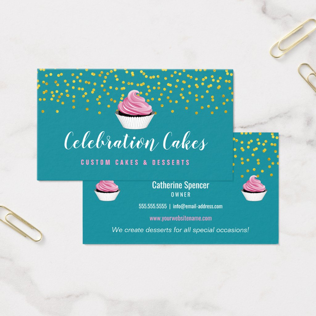 Elegant Gold Sprinkles Cupcake Bakery Business Card