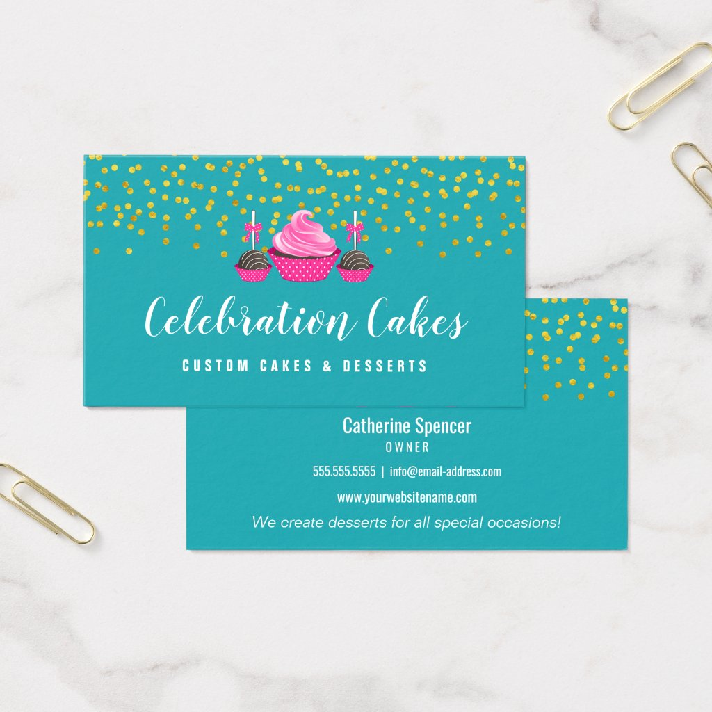 Elegant Gold Sprinkles Cupcake Cake Pops Bakery Business Card