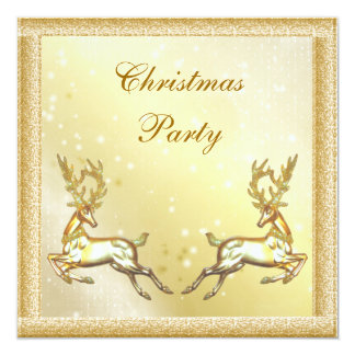 Elegant Gold Stags Classy Christmas Party Card
