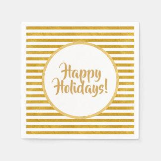 Elegant Gold Stripe -Custom Your Color- Napkin