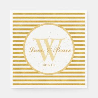 Elegant Gold Stripe -Happy Wedding Monogram- Paper Napkin