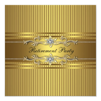 Elegant Gold Stripe Retirement Party Card