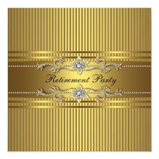 Elegant Gold Stripe Retirement Party 5.25x5.25 Square Paper Invitation Card