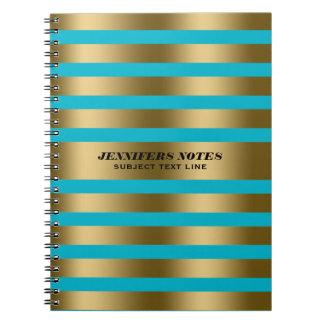 Elegant Gold Stripes Custom Blue Background Notebook