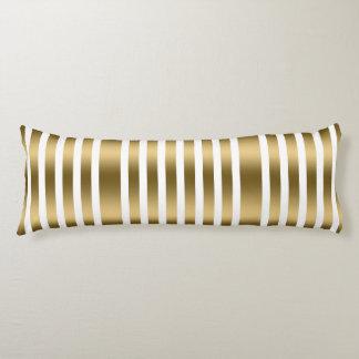 Elegant Gold Stripes Over Orange Background Body Pillow