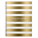 Elegant Gold Stripes White Background Spiral Note Book