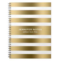 Elegant Gold Stripes White Background Notebook