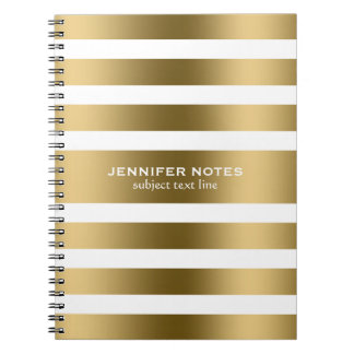 Elegant Gold Stripes White Background Notebook