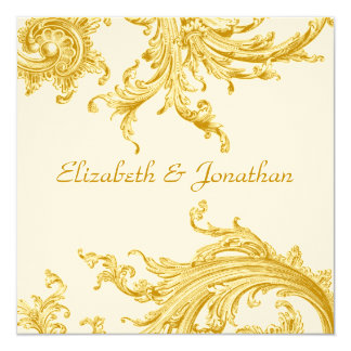 Elegant Gold Sweep Wedding Invitation