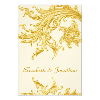 Elegant Gold Sweep Wedding Invitation RSVP