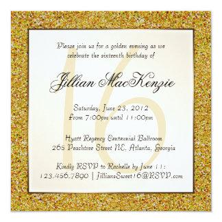 Elegant Gold Sweet 16 Faux Glitter Invite