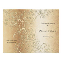 Elegant Gold Swirl with Black Font Wedding Program