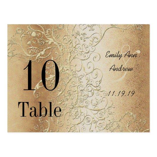Elegant Gold Swirls Black Font Table Numbers | Zazzle.com