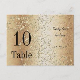 Elegant Gold Swirls Black Font Table Numbers Post Card
