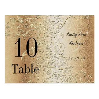 Elegant Gold Swirls Black Font Table Numbers Postcard
