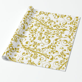 Elegant gold swirls wrapping paper