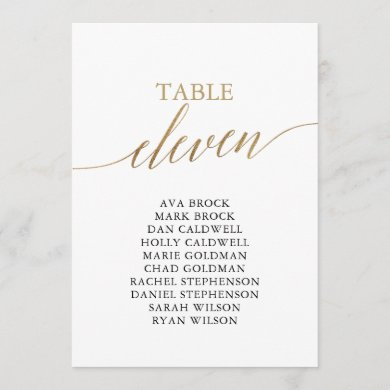 Elegant Gold Table Number 11 Seating Chart