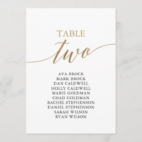 Elegant Gold Table Number 2 Seating Chart