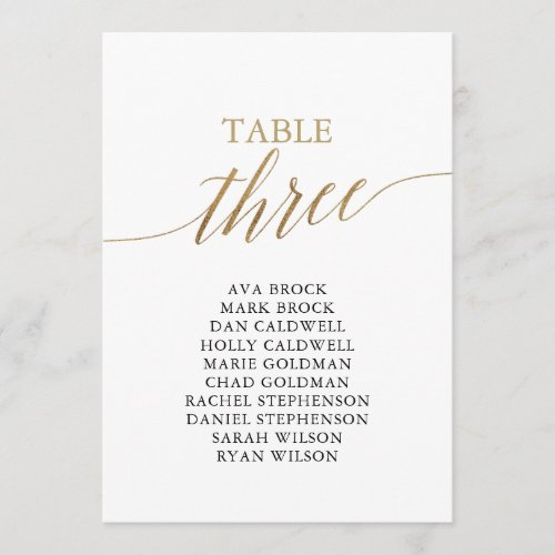 Elegant Gold Table Number 3 Seating Chart