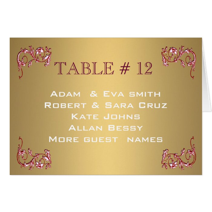 Elegant Gold Table number template wedding Card