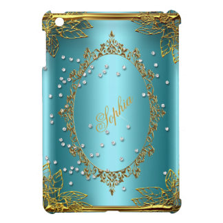 Elegant Gold Teal Blue Add your name iPad Mini Cases