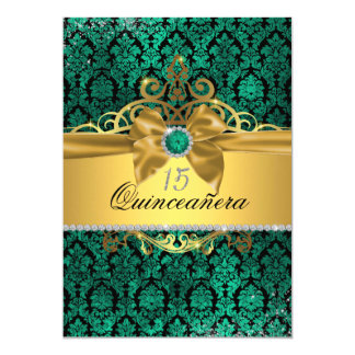 Elegant Gold Teal Damask Quinceanera Invite