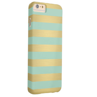 Elegant Gold Teal Stripes Metallic Luxury Barely There iPhone 6 Plus Case