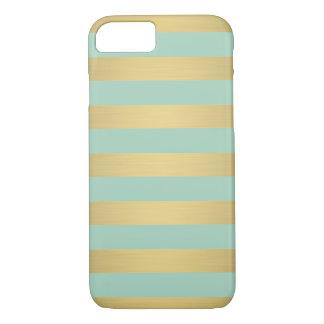 Elegant Gold Teal Stripes Metallic Luxury iPhone 7 Case