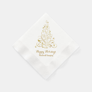 Elegant Gold Tone Tree Corporate Holiday Napkins