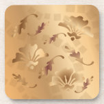 Elegant Gold Toned Beige Floral Coaster Set at Zazzle
