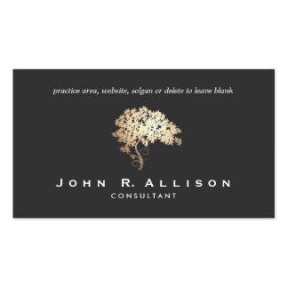 Elegant Gold Tree Logo Entrepreneur Black Classy Business Cards