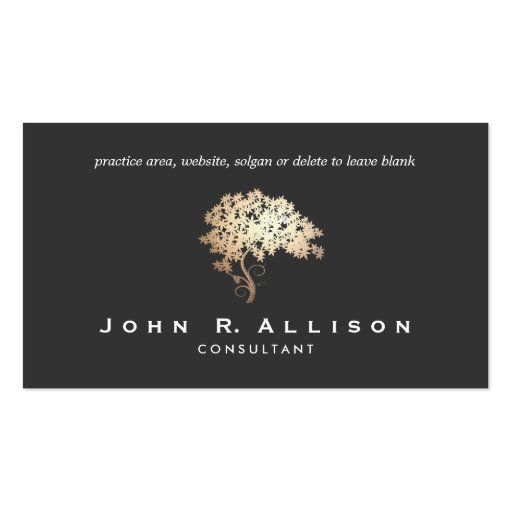 Elegant Gold Tree Logo Professional Double Sided Standard