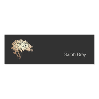 Elegant Gold Tree Simple Black Double-Sided Mini Business Cards (Pack Of 20)