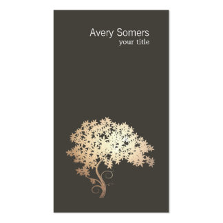 Elegant Gold Tree Simple Black Business Card