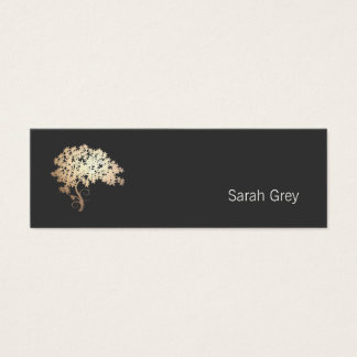 Elegant Gold Tree Simple Black Mini Business Card