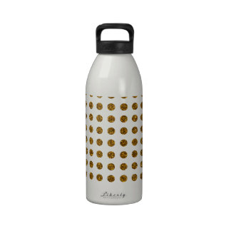 Elegant Gold Trendy Polka Dots Glitter Photo Print Reusable Water Bottles