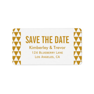 Elegant Gold Triangle Pattern Save the Date Label