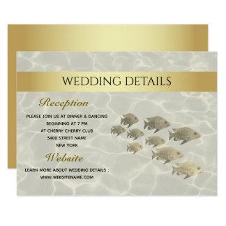 Elegant Gold Tropical Beach Wedding Details Card