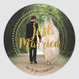 Elegant Gold Typography | Just Married Photo Classic Round Sticker