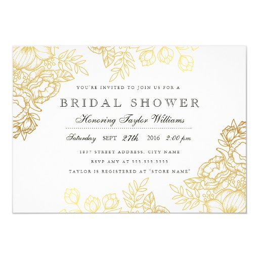 Elegant Gold Vintage Floral Bridal Shower Invite