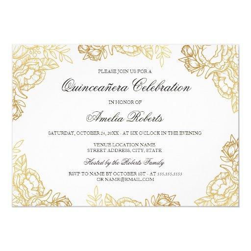 Elegant Gold Vintage Floral Quinceanera Invite