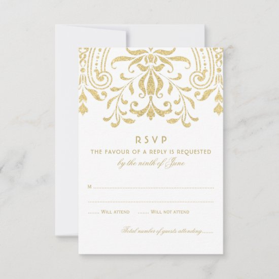 Elegant Gold Vintage Glamour Wedding RSVP Card