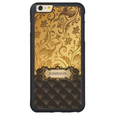 Elegant Gold Vintage Shadow Damask Black Diamond Carved® Maple iPhone 6 Plus Bumper Case