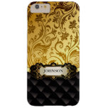 Elegant Gold Vintage Shadow Damask Black Diamond Barely There iPhone 6 Plus Case