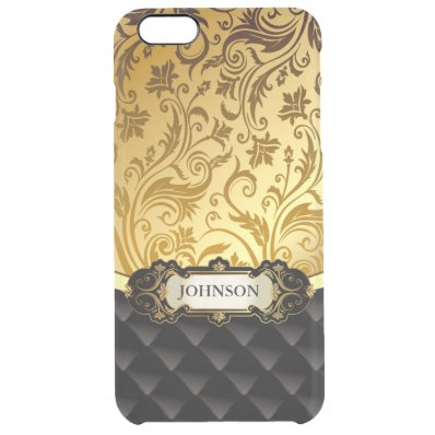 Elegant Gold Vintage Shadow Damask Black Diamond Clear iPhone 6 Plus Case