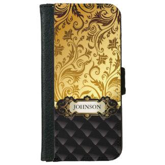 Elegant Gold Vintage Shadow Damask Black Diamond iPhone 6 Wallet Case
