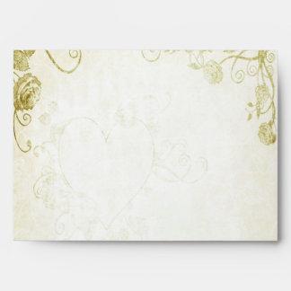 Elegant Gold Vintage Wedding Envelope