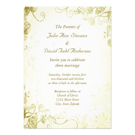 Elegant Gold Vintage Wedding Invitation 5 X 7 Invitation Card