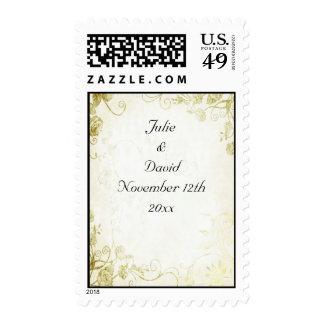 Elegant Gold Vintage Wedding Postage Stamp